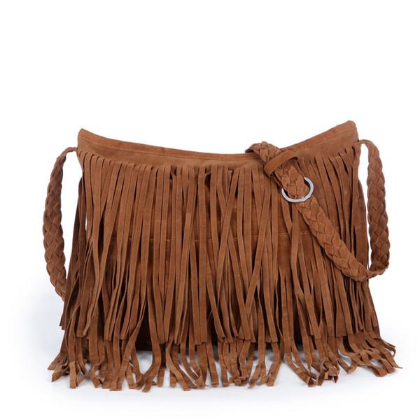 Golandstar Hot Fashion Suede borlas bolso mujeres bolso embrague Hobo monedero bolsos de hombro cruzada bolsos del cuerpo de señora Sling Bag Totes GLB092