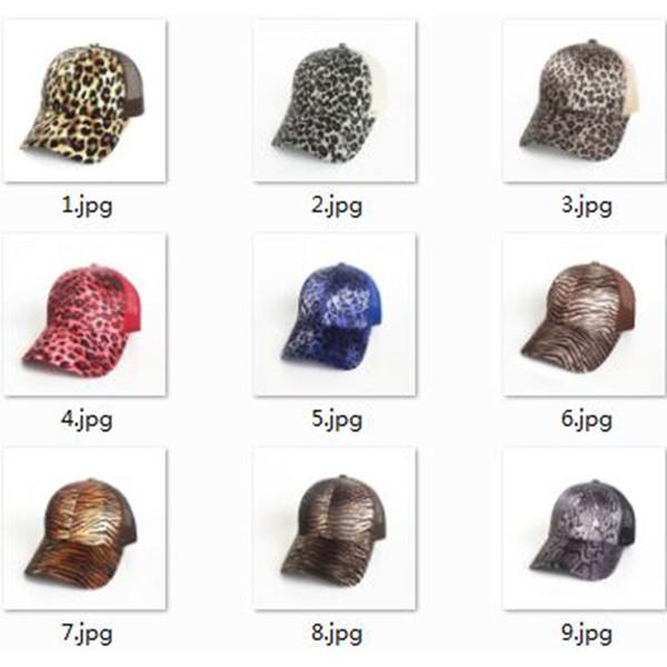 Estampado de leopardo verano cola de caballo gorra de béisbol de malla sombreros para las mujeres Messy Bun Casual Hip Hop Snap back Gorras Hombre sombreros