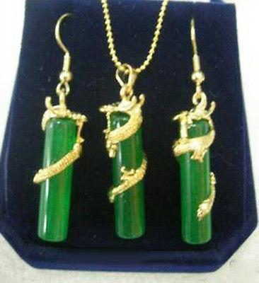 Green Jade Yellow Gold Plated Dragon Pendant Earrings & Necklace Set