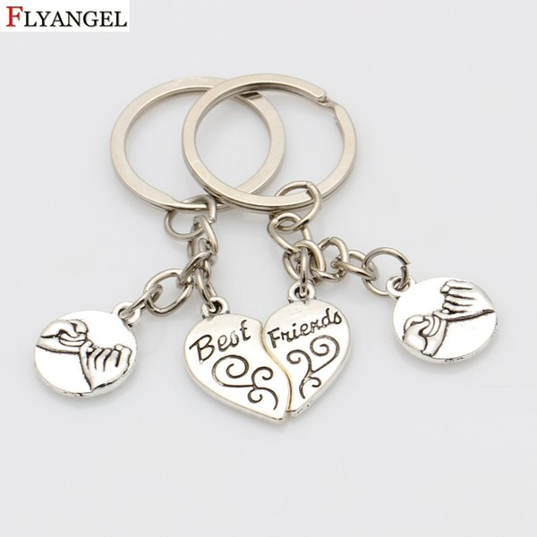Personality Best Friends Keychain For Lovers Friends Key Chain Pinky Promise Pendant Car Bag Key Ring Holder Birthday Gifts