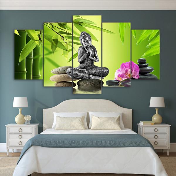 Acheter Hd Cadre D Impression 5 Panneau Zen Bouddha Toile Peinture Mur Art Affiche Pour Le Salon Modulaire Image Pour Le Salon Home Decor De 9 17 Du