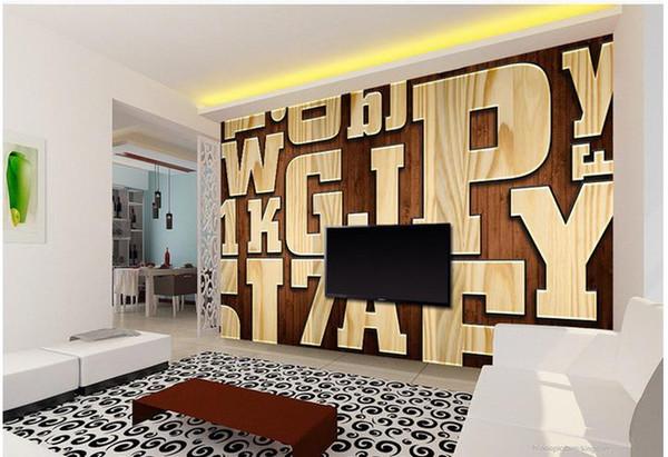 Foto Tapete Hohe Qualität 3D Stereoskopischen Vintage geprägte holzmaserung brief 3D TV hintergrund wand Kunst Wandbild für Wohnzimmer Große Schmerzen