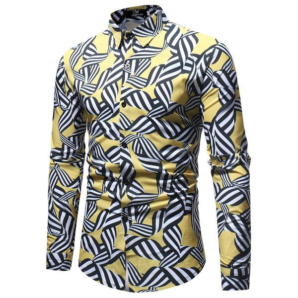 Black White Striped Print Shirt Men 2018 Spring Autumn New Mens Casual Button Down Dress Shirts Men Wedding Party Shirt Tops 3XL