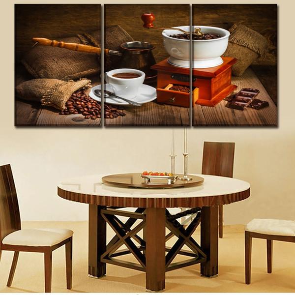 Baskı Tipi Posteri Tuval Boyama 3 Panel Eski moda Manuel Kahve Makinesi Ve Kahve Çekirdekleri Resim Ev Dekor Tuval Üzerine
