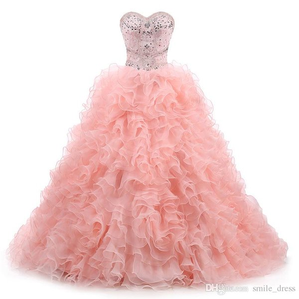 2017 Pink Princess Ball Gown Quinceanera Dresses Sweetheart Crystals Cascading Ruffles Sweep Train Sweet 16 Gowns Prom Party Pageant Dresses