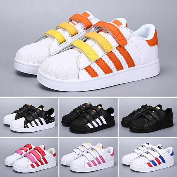 Farben 18 Männer Große Casual Sport DORP Frauen Großhandel Adidas Schuhe Leder Schuh Mode Kinder Von Superstar baby Verschiffen Brainy Turnschuhe PkZOuiX