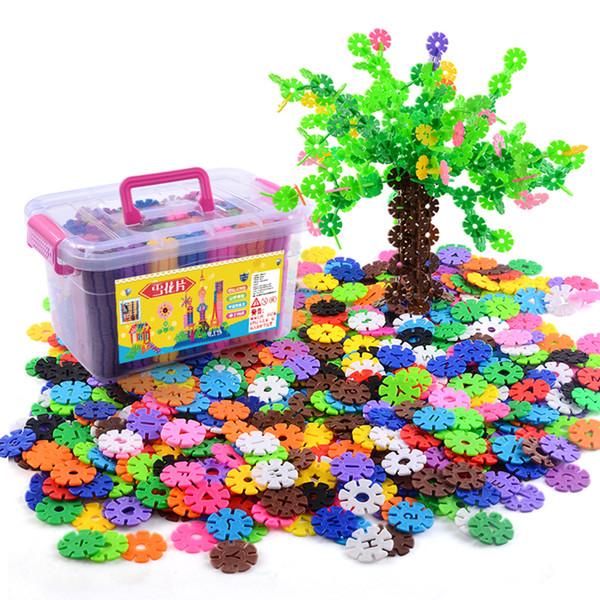 500pcs children diy snowflake bricks with storage box kindergarten toy classical building block different colors sheet brick assemble toy