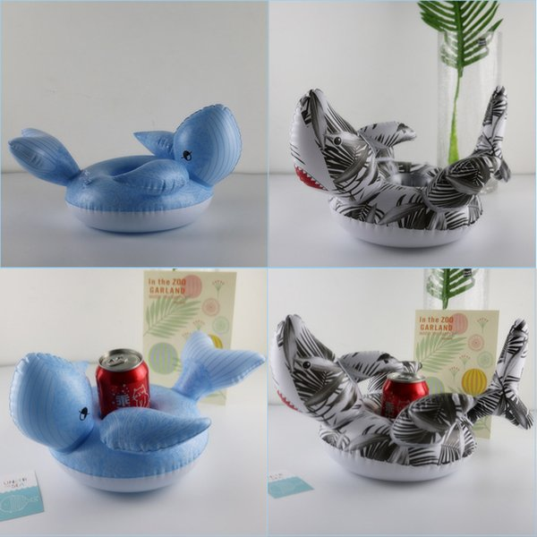 Cartoon Shark Whale Cup Holder Inflatable Drink Cup Holder Shark Whale Drink Cup Seat Swimming Pool Favorite Supplies Inflatable Coaster