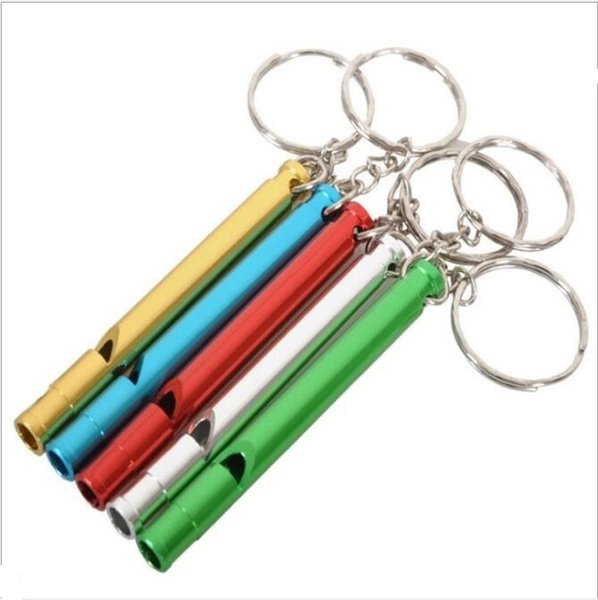 Outdoor Metal Whistle Pendant With Keychain Keyring For Outdoor Survival Emergency Mini size whistles Outdoor kit 6 colors