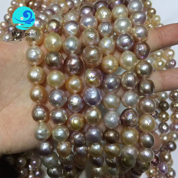 high quality freshwater 12x13mm cultured edison near round shape pearl loose strand necklace 16 inches mixed color