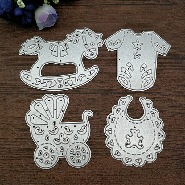 4pcs Baby Suit Carriage Rocking Horse Cutting Dies Stencils DIY Scrapbooking Card Paper Craft Metal Decoration Embossing Folder free shippin