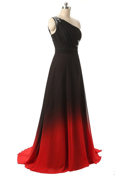 2019 Long Gradient Chiffon Omber Evening Prom Party Gowns One Shoulder Back Crystal Evening Dresses Lace Up