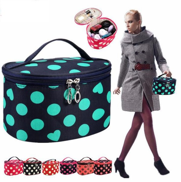 Travel Cosmetic Bag Makeup Case Dot Portable Organizer Cosmetic Bag Travel Pouch Polka Dots Printed Toiletry Bags LJJK951