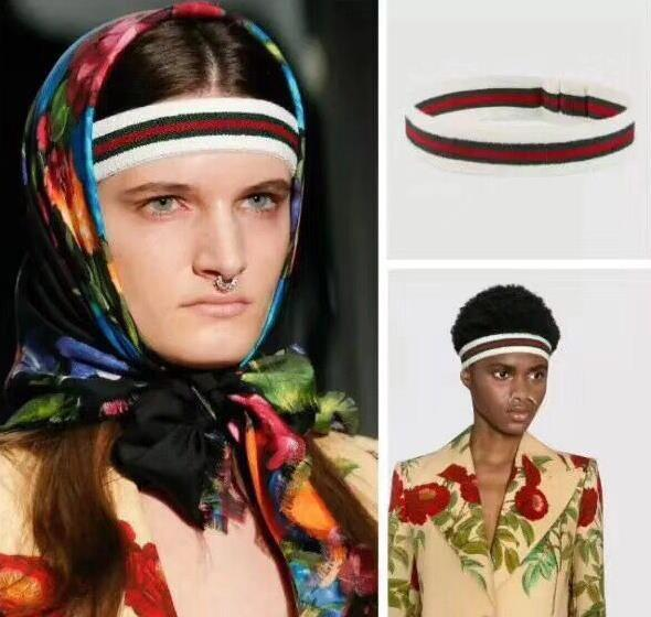 2018 Fashion luxuy Women and Men headband Greed and Red Striped Hair bands Head Scarf For Women Girl Headwraps