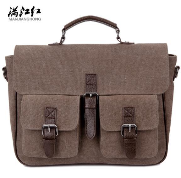 MANJIANGHONG bolsos de los hombres de lona de moda bolsa de hombre de negocios de gran capacidad Bolsas de mensajero multifunción mochila