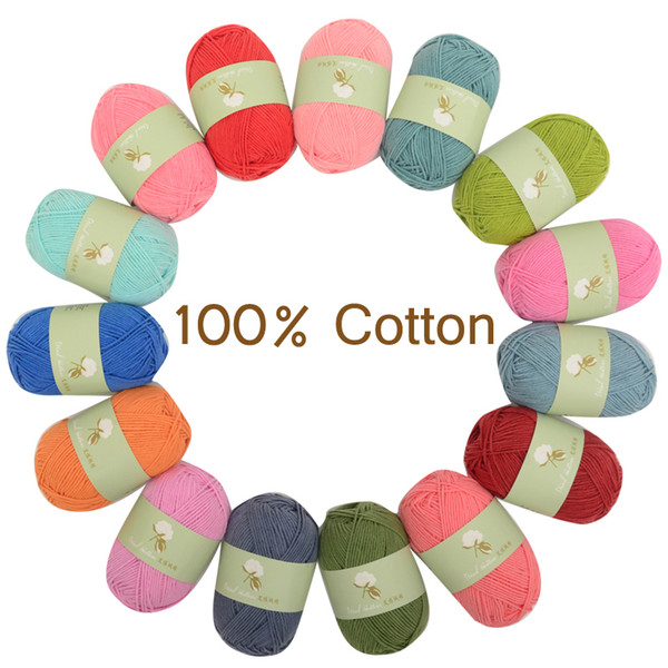 best selling 50g pcs 100% cotton yarn soft skin-friendly hand knitting baby available Hand Knitting yarn Cotton Blended Yarn FREE SHIPPING