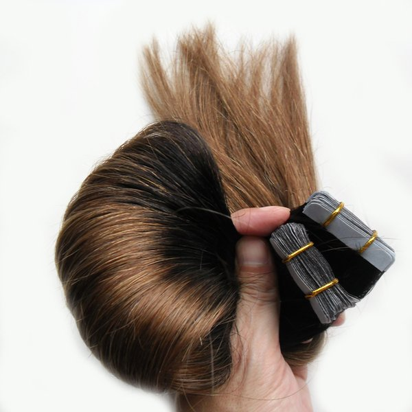 Cheap 1B/8 Tape Hair Extensions 100g Blonde Tape Apply Ombre Tape Hair Extensions 40pcs Skin Weft Hair Extensions Ombre