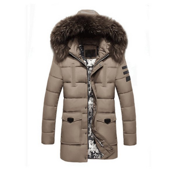 New Fashion Winter Parka Men Cotton Padded Long Thick Warm Casual With Raccoon Dog Fur Collar Male Jacket Coat Hat Detachable