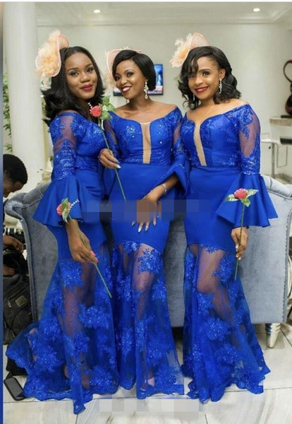 African Black Girl Country Bridesmaid Dresses 2019 Lace Maid Of Honor Gowns Formal Wedding Party Guest Dresses Sheer Skirt Formal Dress