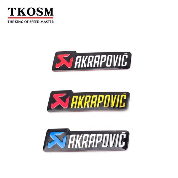 top popular TKOSM 3 pcs  Lot Universal 100X30mm Aluminium 3D Label Stickers Akrapovic Exhaust Muffler Sticker Silencer Decals For Motorcycle Three Color 2019