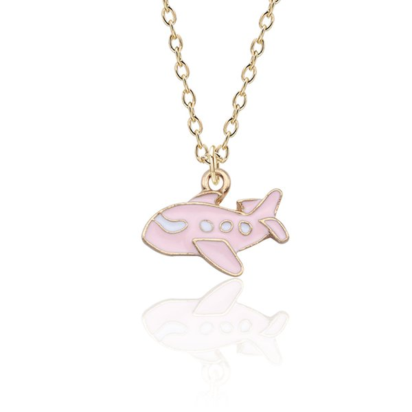Cartoon Aircraft Necklaces Pendants Cute Mini Gold Enamel Colorful Airplane Air Plane Necklace Women Jewelry Gifts Collier Femme