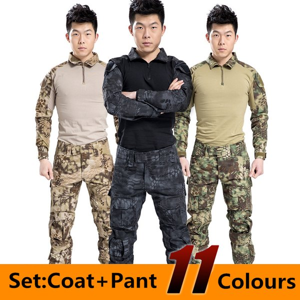 Hombres Tactical Set Coat Pant Clothing Impermeable Army Combat Uniform Tactical Pants Hombres Camuflaje Caza Ropa