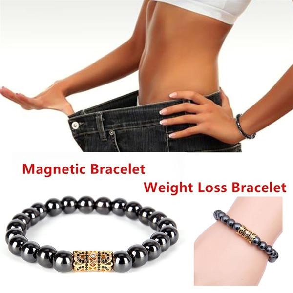Black Cool Magnetic Bracelet Beads Hematite Stone Therapy Health Care Magnet Hematite Beads Bracelet Men's Jewelry