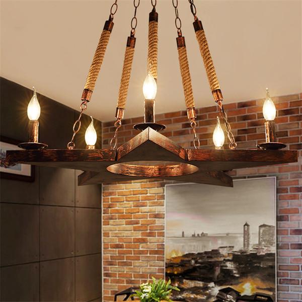 Antique Wooden Chandelier Vintage Bar Pendant Lamps Lights Nordic Iron Hanging Lamp AC 65-240 V Suspension Lamps Luminaria Avize