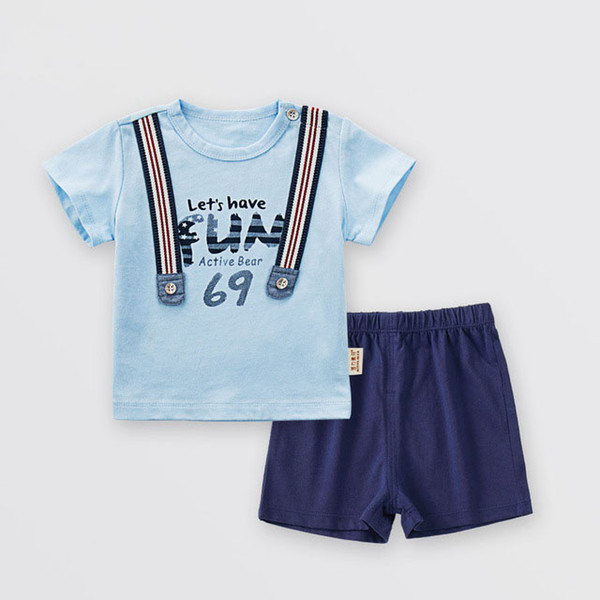 top popular 2018 summer children's clothing baby clothes cotton fashion male baby pants 1-3 years old boy two-piece suit 2021