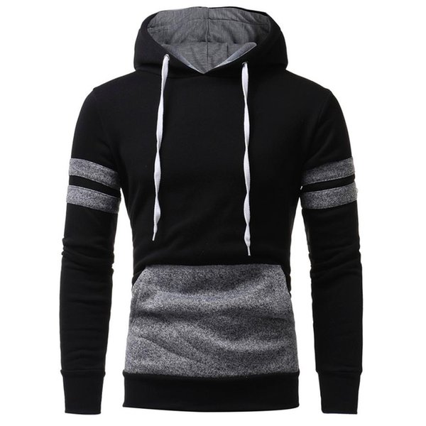 2017 Oversize Men's Moletom Hoodie Hooded Sweatshirts Cotton Color Block Long Sleeve Tops Male Tunic Pullovers Cool Men Clothing