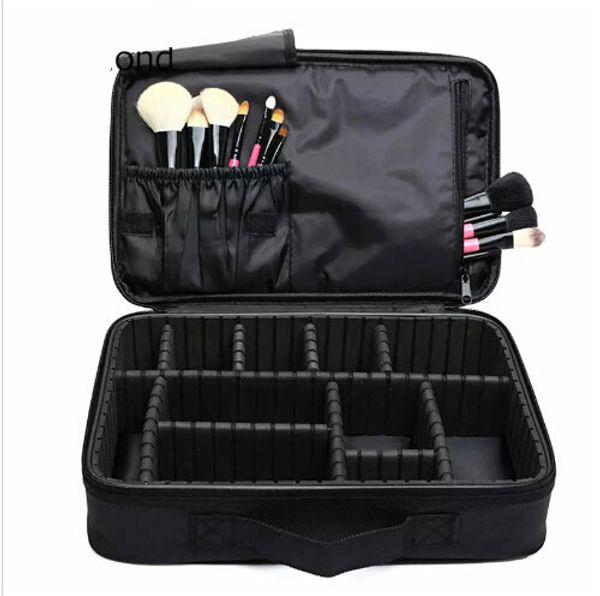 Caja de cepillo de maquillaje Maquillaje Organizador Bolsa de aseo Bolsa de almacenamiento de cosméticos Cajas de herramientas de arte de uñas grandes con Bolso portátil