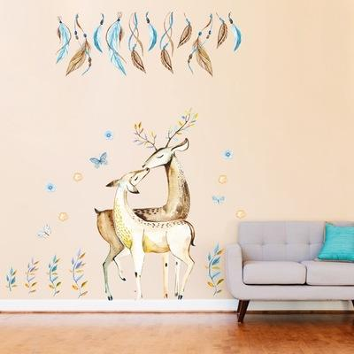 Fancy Deers Wall Sticker Wallpaper Wall Picture Art Vintage Room Home Decor Kitchen Accessories Household Craft Suppllies