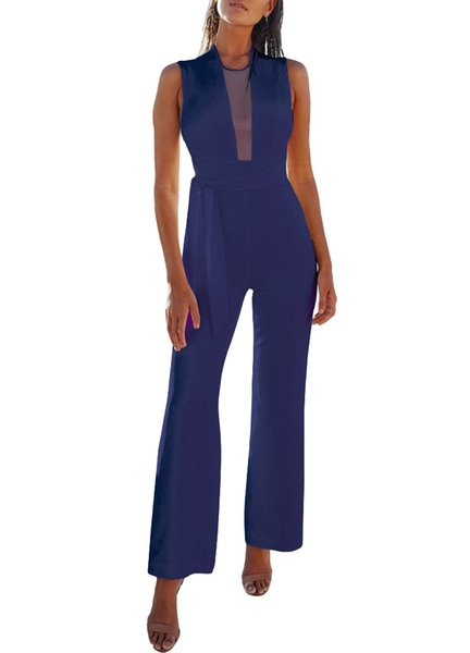 Sexy Women Jumpsuit Plunge Sheer Mesh Sleeveless Waist Tie Zipper Back Long Pants Slim Fit Female Lady Playsuits Rompers Clothes