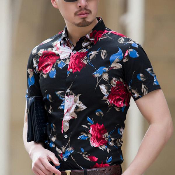 d3861abe4b1d 2018 Men Summer Short High Quality Fashion Men Floral Shirts Sleeve Slim  Fit Plus Size Business