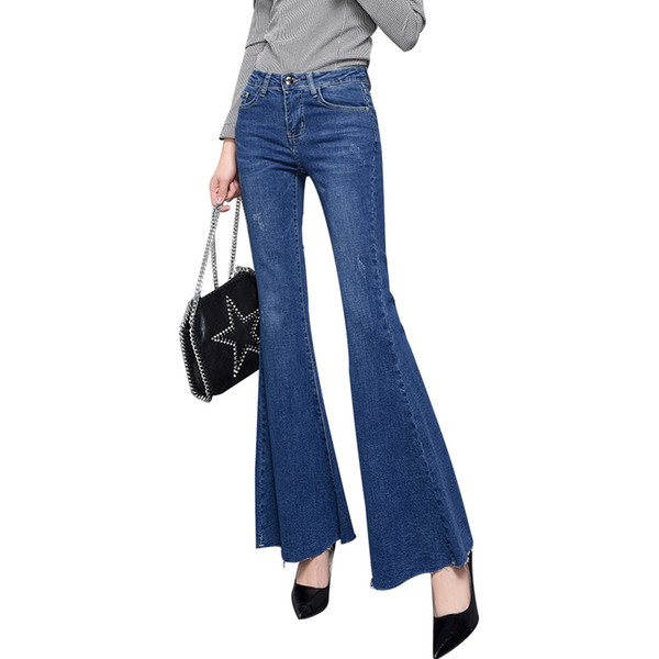 Full-length Bell-Bottoms flare pants stretching cool soft mid-waist light washed regular Trousers autumn women jeans female