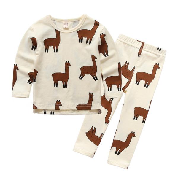buon servizio vende stile unico Acquista Tiny Cottons 2018 Nuovi Vestiti Bambini Set Animal Alpaca Stampa  Baby Ragazzi Ragazze Pigiama Set Fashion Design Abbigliamento Bambini  Novità ...