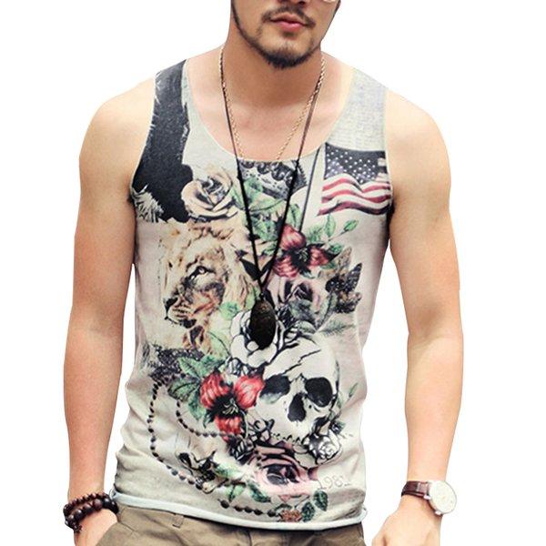 Bodybuilding Stringer Tank Top Men Fitness Sleeveless Print Workout Vest Cotton Undershirt British Retro Skull Men Singlet