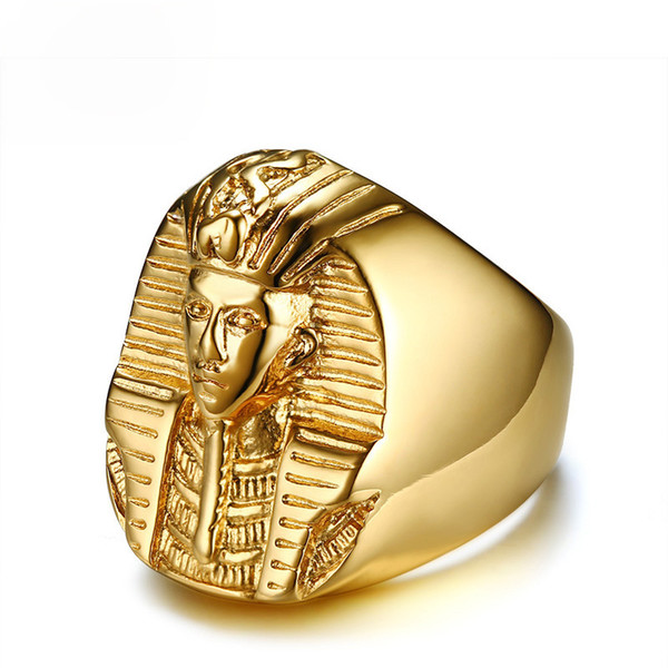 Pharaoh Shaped Mens Gold Rings Finger Stainless Steel Gold Plated Rock Punk Ancient Egypt Male Cool Jewelry Rings US Size 9-13