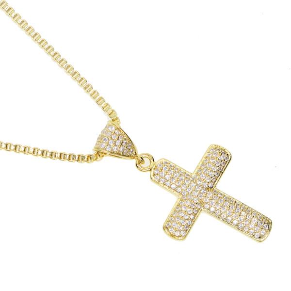 Fabrik Großhandel Kreuz Halskette für Männer Junge Geschenk Mikro gepflastert AAA Zirkonia vereisten bling Gold plattiert Männer Hip Hop Halsketten