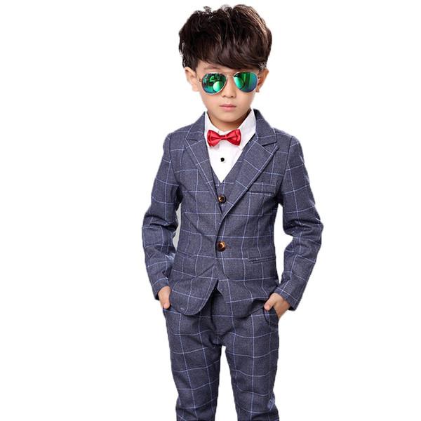 Jungen Blazer Formales Kleid Hochzeit Anzug Weste + Mantel + Hosen 3 Stücke Marke Kinder Schule Anzug Party Smoking Performance Wear N61