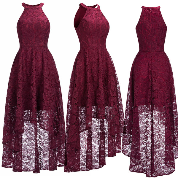 Christmas Evening Dresses Uk.Sexy Halter Cheap Burgundy Lace Evening Dresses Halter Sleeveless High Low Designer Formal Occasion Wear Christmas Party Gown Cps1151 Designer Prom