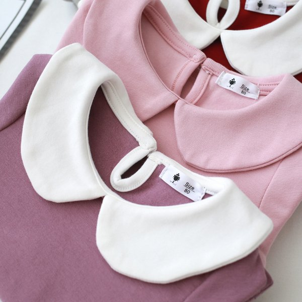 2018 Girls baby Bottom shirt Long sleeve Autumn New style Cotton Doll collar purple white red pink gray 3pcsLot