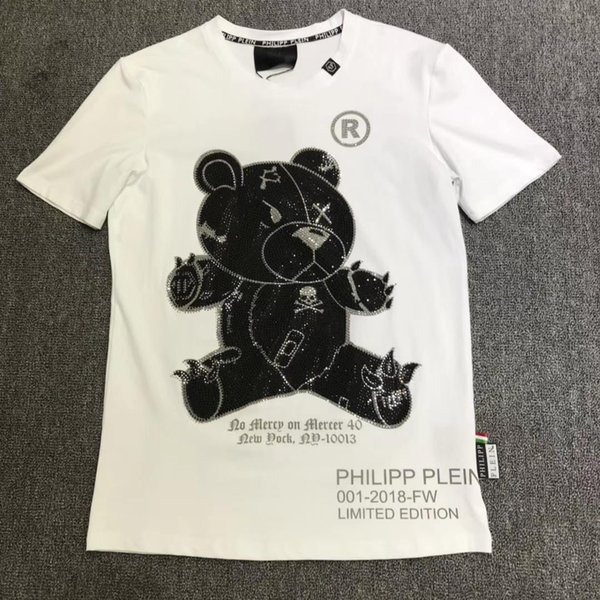 Nuova moda petto ricamo lupo cranio maglietta degli uomini manica corta t-shirt casual hipster modello frattale tees cool top trasporto libero 15