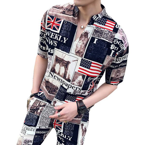 Newspapar Print 2pc Men Suit Set Tunic Collar Shirt + Short Men 2018 Fancy Pattern Designer Set Prom Party Vacation Shorts