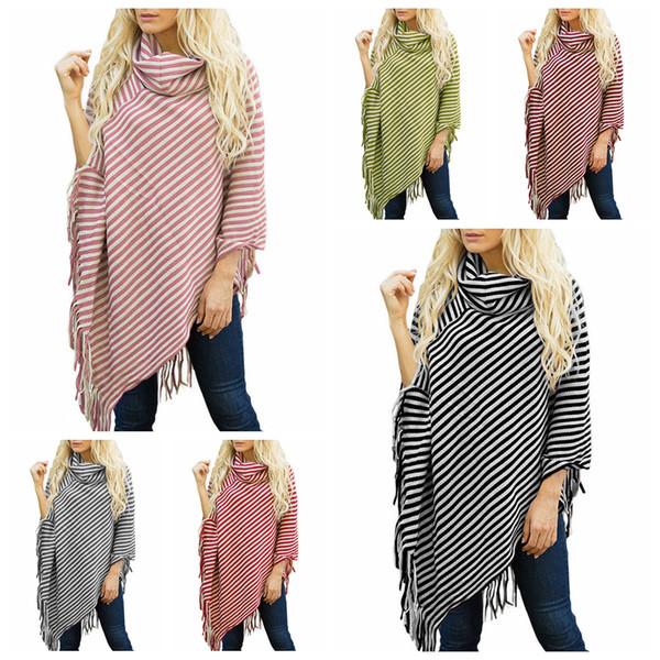 Striped Tassel Cloak 7 Colors Casual Stripes Women Tassel Shawl Sweater High Neck Sweater Batwing Sleeve Girls Scarf Cape OOA5759