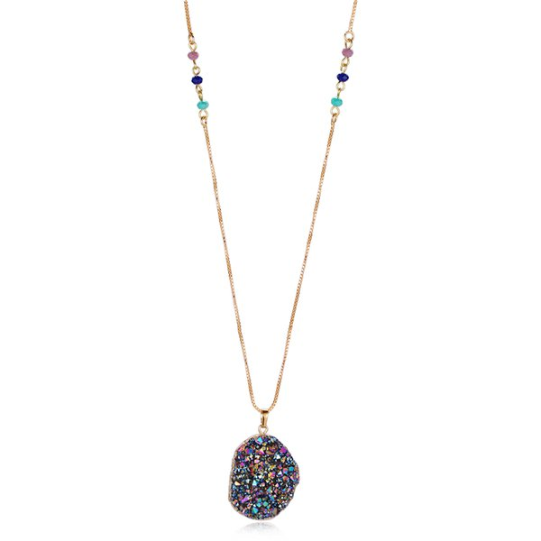 Frauen Schmuck Stein Halskette Pullover Halskette Natürliche Anhänger Halskette