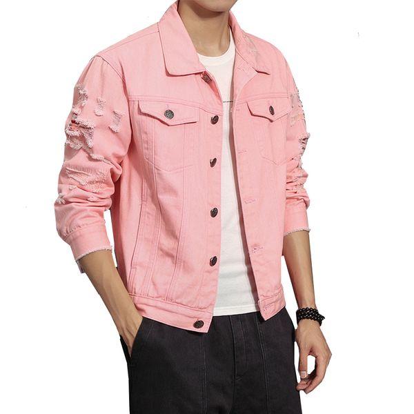 Jeansjacke Männer zerrissen Löcher rosa schwarz Jean Jacken reine Farbe neue 2018 Garment gewaschen männlichen Denim Mantel große Größe M-5XL