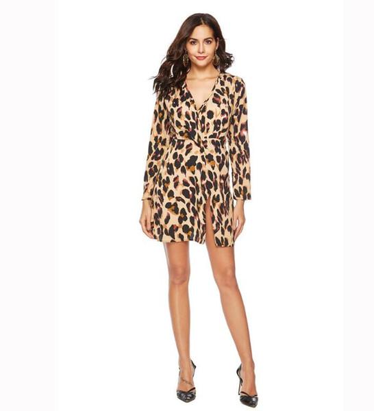 2018 kleiden neue Damen des Herbstes und des Winters reizvollen geknoteten Kleidchiffon- Rock des europäischen und amerikanischen Leoparden freies Verschiffen
