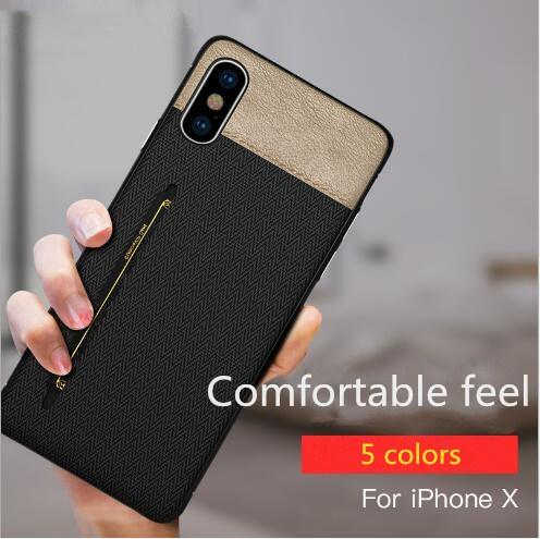 Luxury Fabric Skin Cell Phone Case Credit Card Slots Holder Silicone Hard PC Cases for iphone X 7 8 6 6S plus