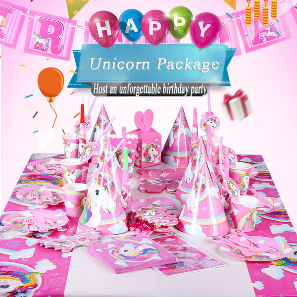 birthday party decorations Unicorn Party Set Disposable Tableware Set banner Paper Cup/Plate/Hat/Napkins gift boxes christmas decorations